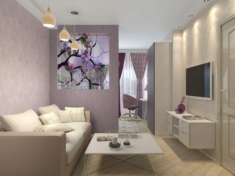 Дизайн узкой комнаты фото 11