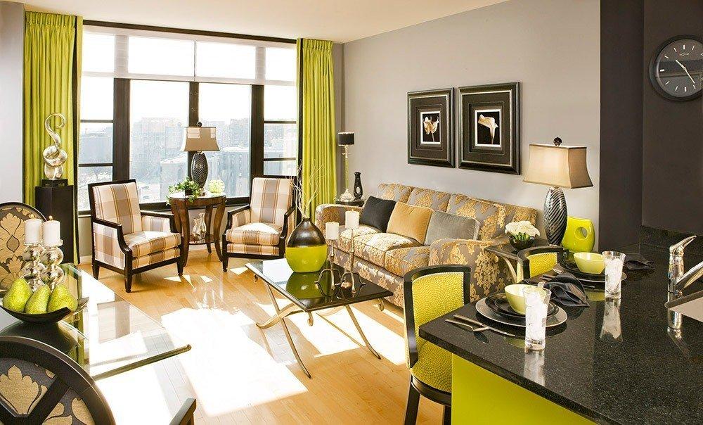 Сочетания зеленого и коричневого цвета в интерьере фото 1