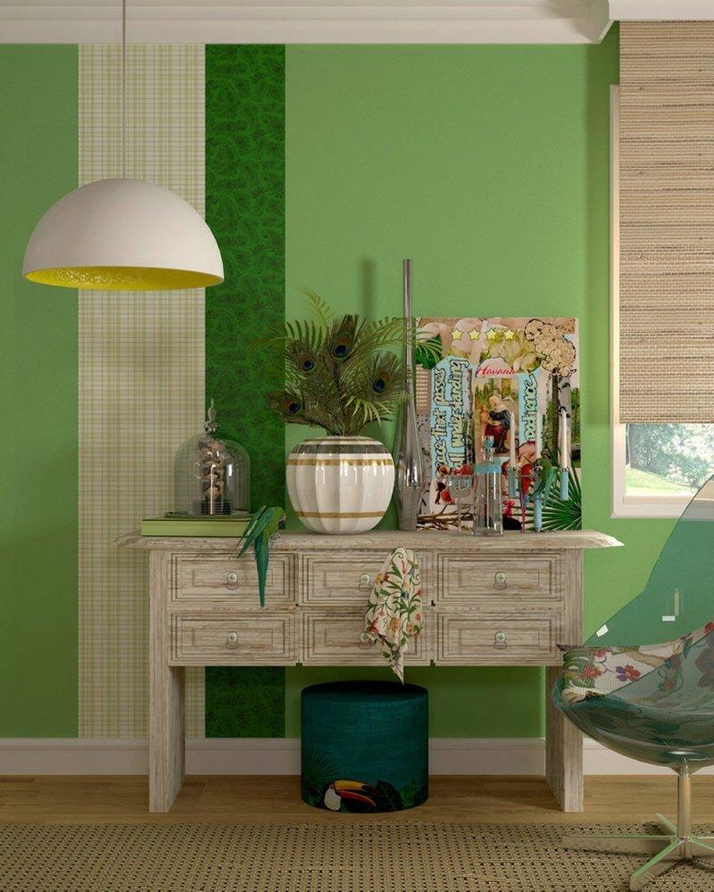 Сочетание зеленого цвета в интерьере в тропическом стиле
