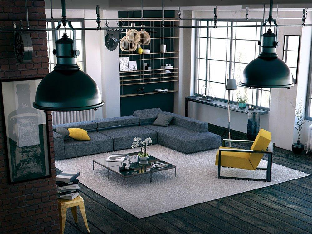 Современная гостиная в стиле лофт фото 1