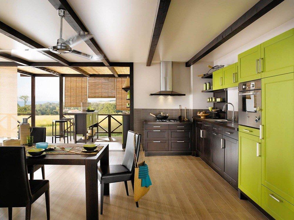 Сочетания зеленого цвета в интерьере кухни фото 2