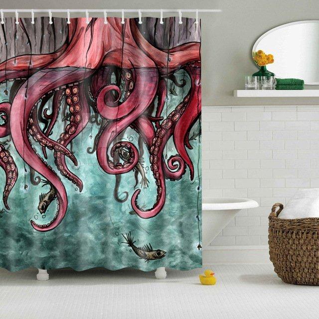 Красочная шторка для душа с осьминогом SVETANYA