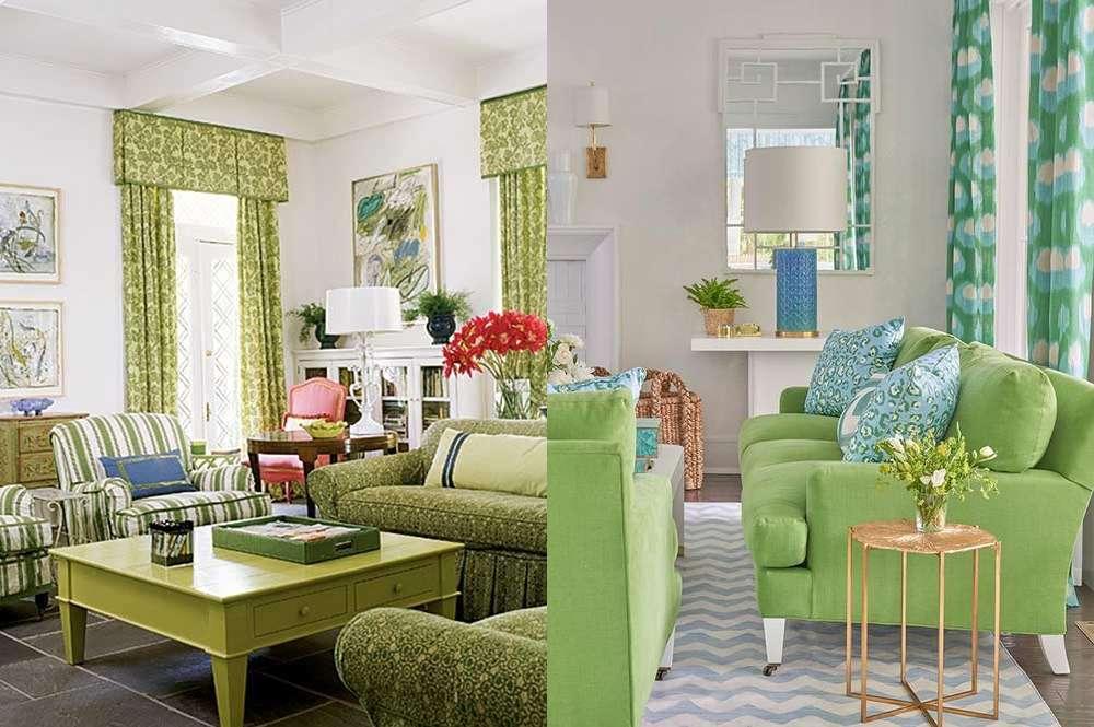 Сочетание зеленых диванов и зеленых штор