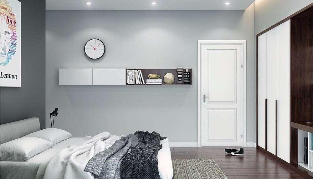 Спальня в сером цвете в стиле минимализм