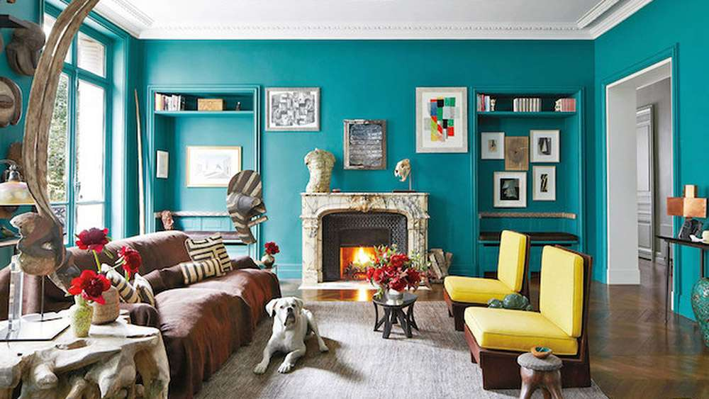 Сочетание синего и желтого в интерьере