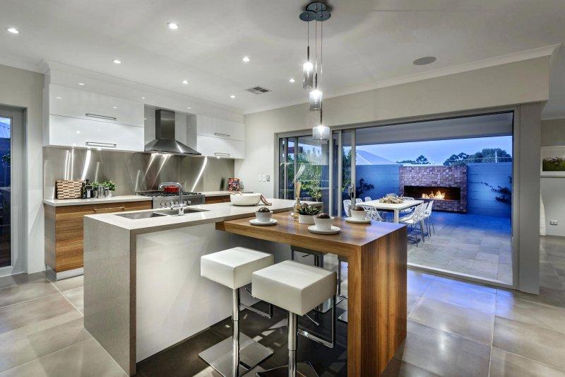 Комбинированный вариант: кухонный остров и барная стойка