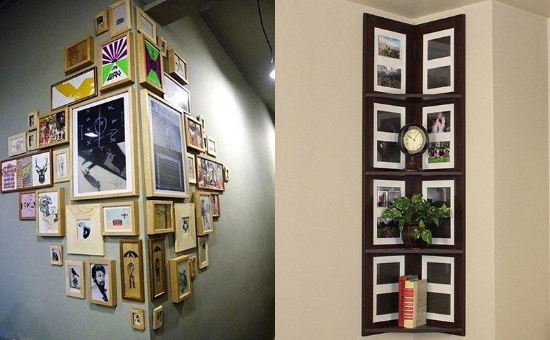 украшение углов рамками с фото и картинами