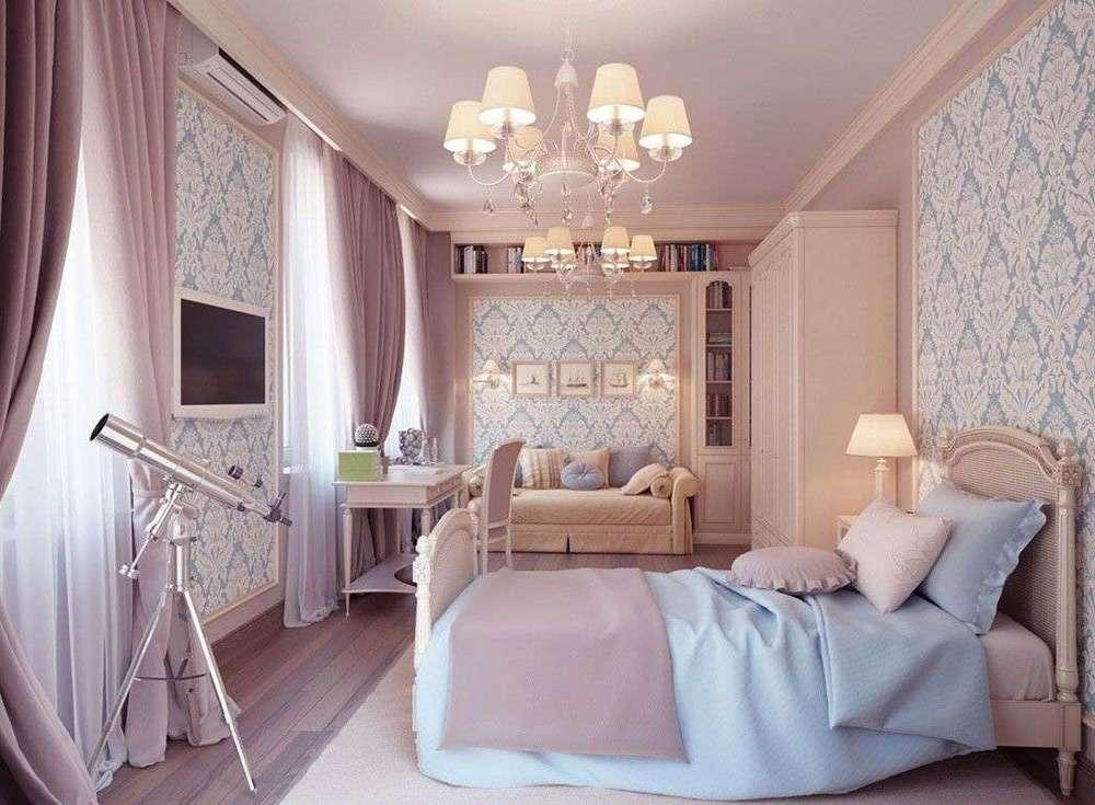 Романтический стиль интерьера спальни в розовом цвете