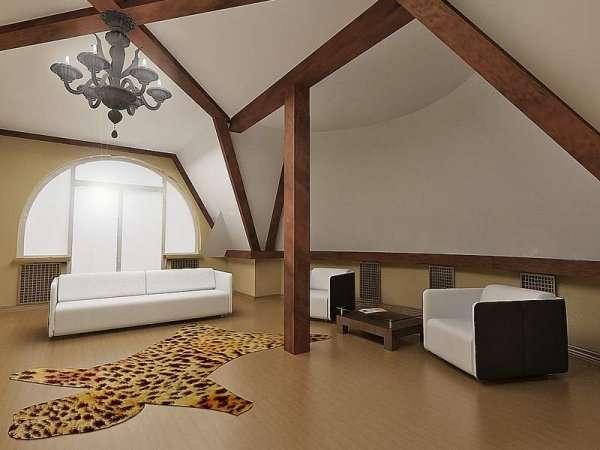 Балки в комнате на мансарде - оригинальные идеи