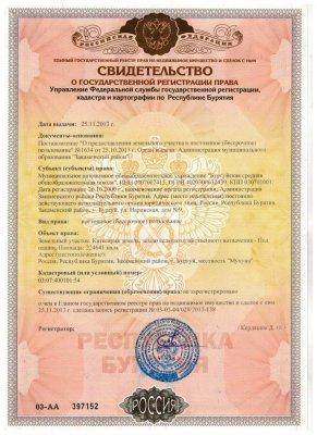 Свидетельство о государственной регистрации права на земельный участок - Пример 1
