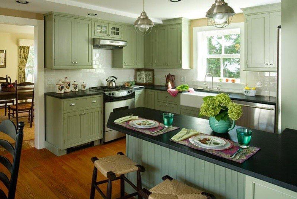 Сочетания зеленого цвета в интерьере кухни фото 5