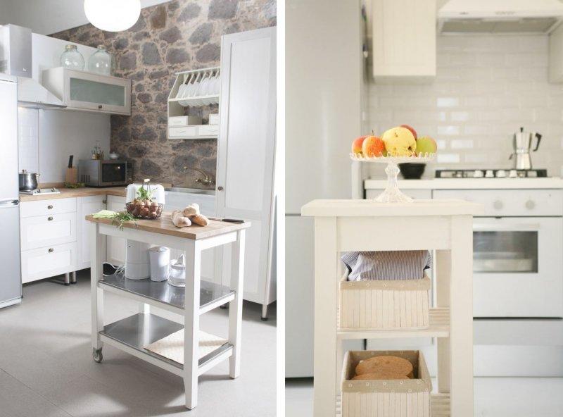 Островные тумбы на колесиках для небольших кухонь