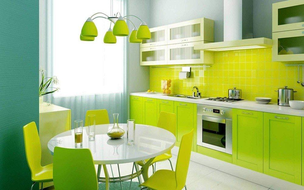 Сочетания зеленого цвета в интерьере кухни фото 7