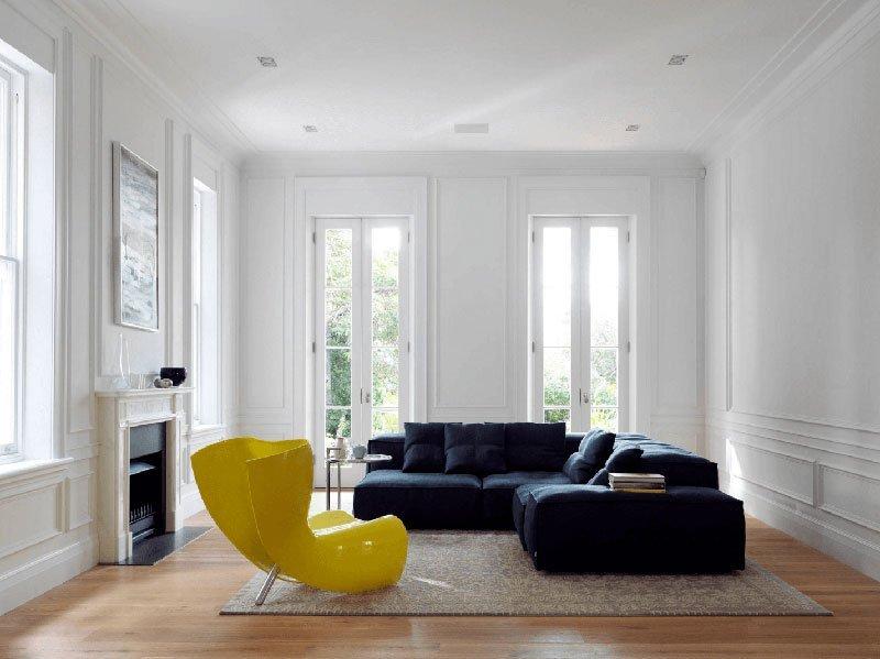Нелинейная расстановка мебели - рекомендация для создания стиля минимализм в интерьере