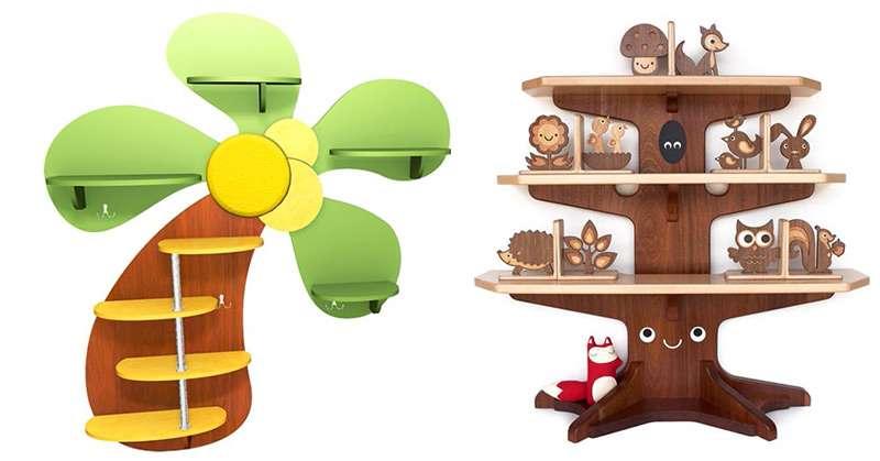 Настенные полки для детской с интересным дизайном