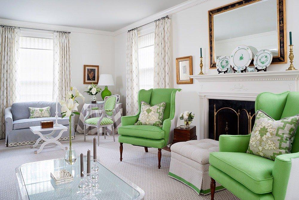 Сочетания зеленого цвета в интерьере гостиной фото 5