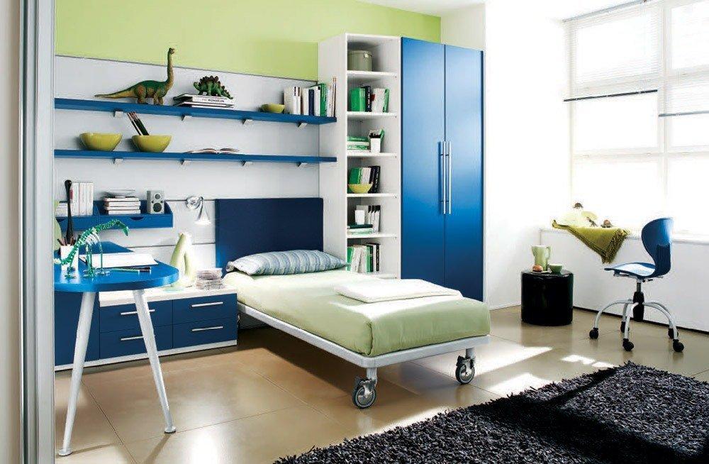 Сочетания зеленого и синего цвета в интерьере фото 2