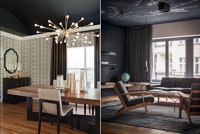 Черный потолок в интерьере в стиле авангард