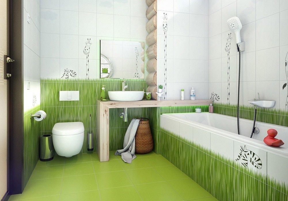 Сочетания зеленого цвета в интерьере ванной фото 1