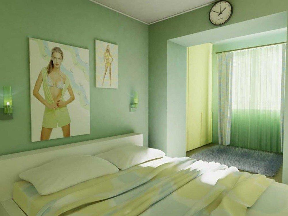 Сочетания зеленого цвета в интерьере спальни фото 7