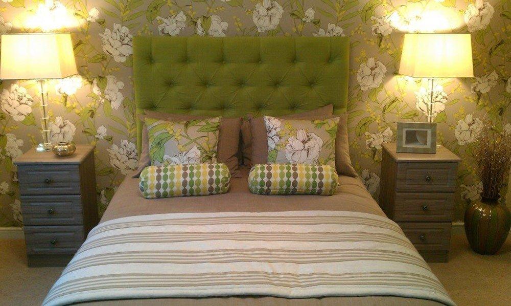 Сочетания зеленого цвета в интерьере спальни фото 3