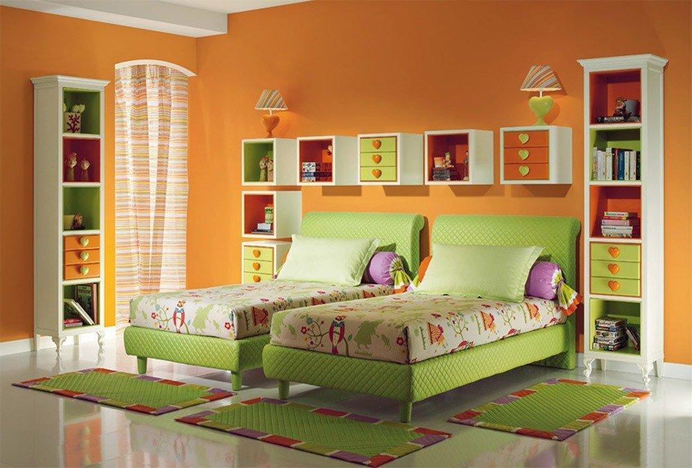 Сочетания зеленого и оранжевого цвета в интерьере фото 2