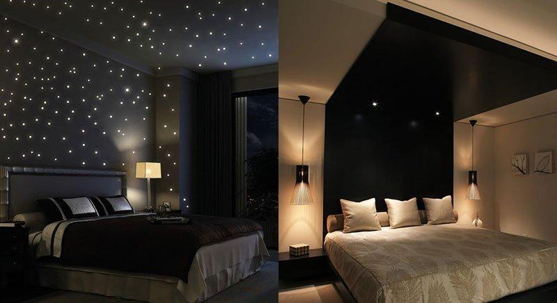 Черный потолок в спальне. Звездное небо и балдахин