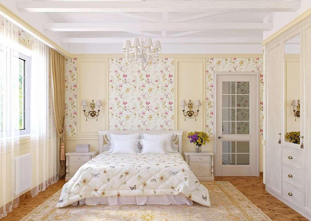 Стиль кантри в интерьере спальни с использованием цветочных мотивов