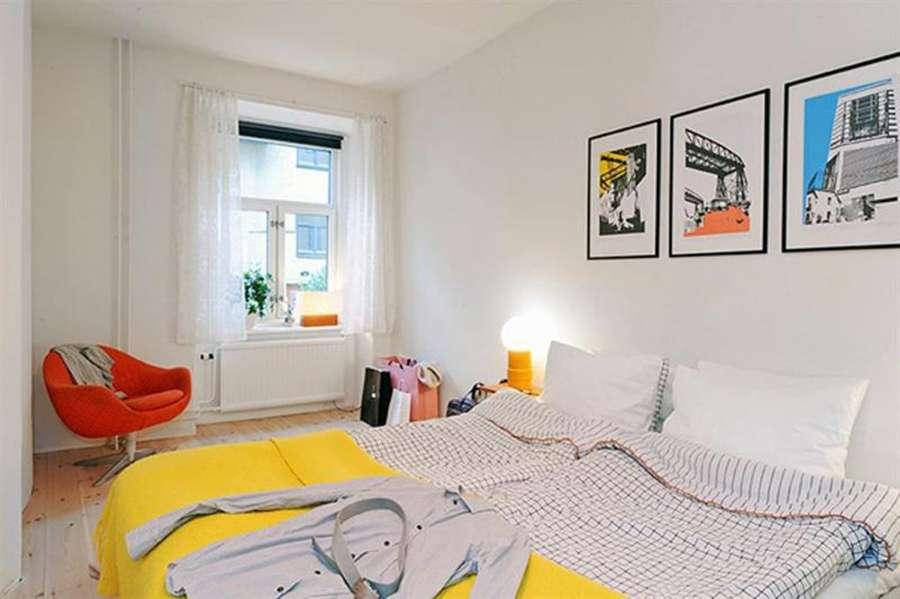Яркое оформление спальни в скандинавском стиле
