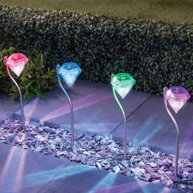 Цветные садовые фонарики «Бриллианты»Alloet (4 шт.)
