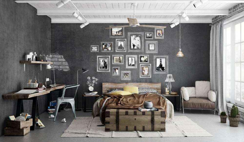 Серый пол в интерьере спальни в стиле лофт