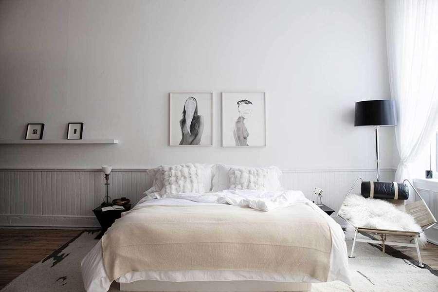 Классика интерьера спальни в скандинавском стиле