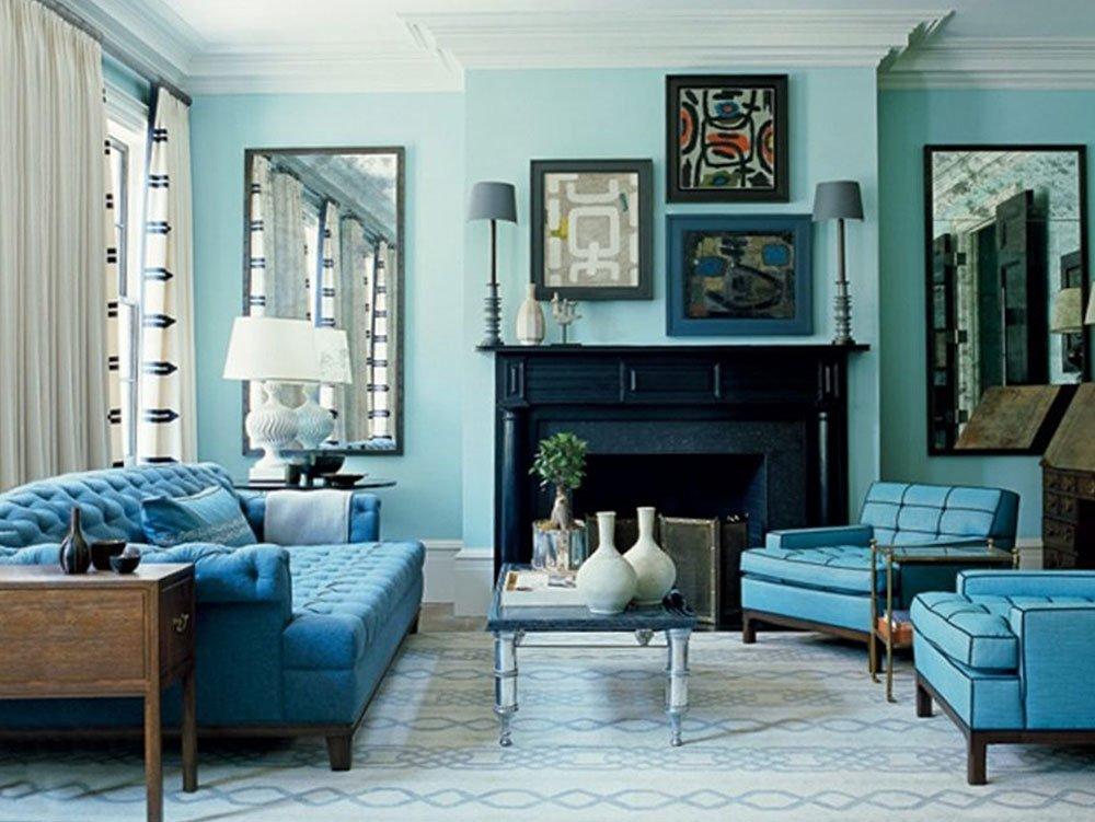 Сочетания голубого цвета в интерьере фото 44