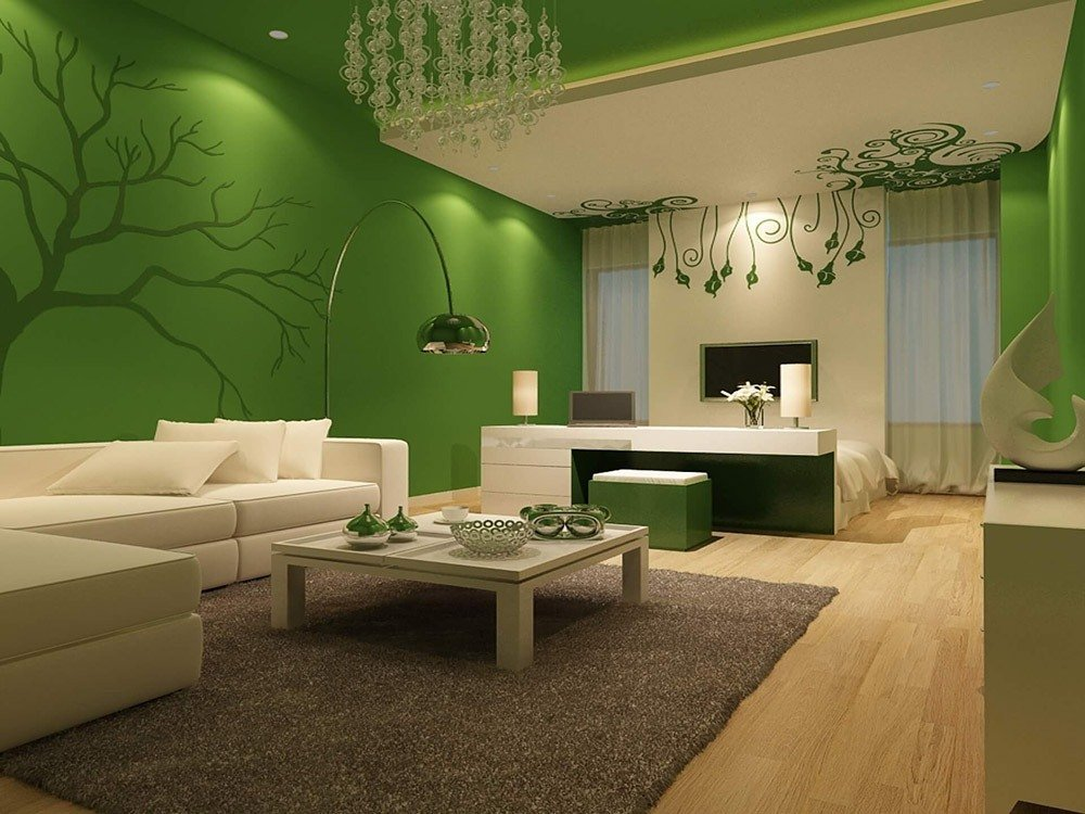 Зеленый цвет в интерьере гостиной фото 1