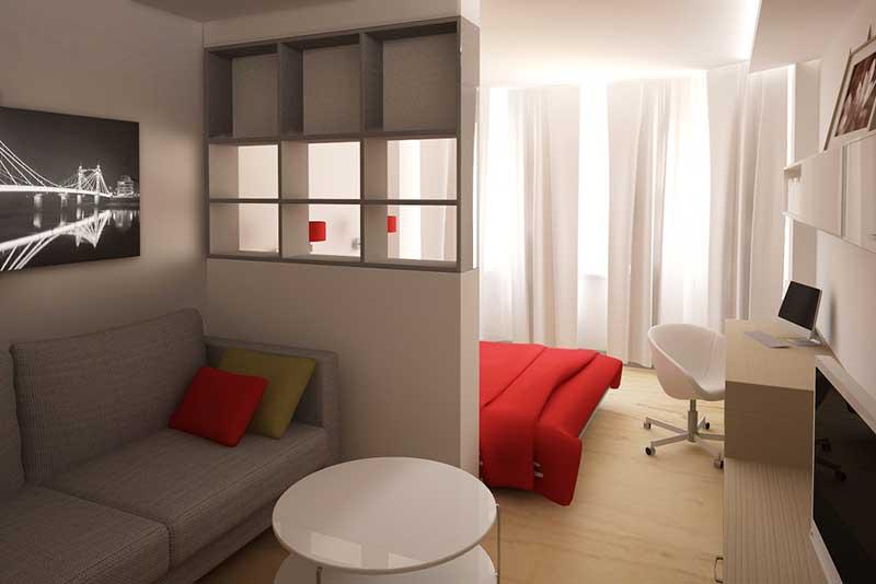 удачное зонирование пространства комнаты