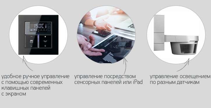 Удаленное управление освещением, датчики и клавишные панели