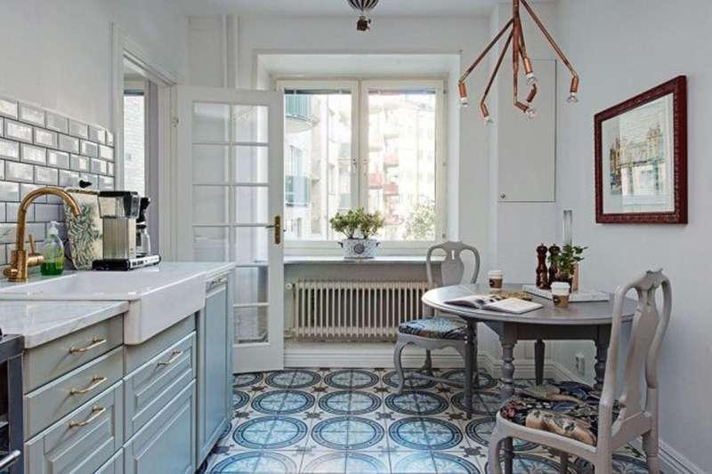 Интерьер кухни в скандинавском стиле требует оригинальных светильников