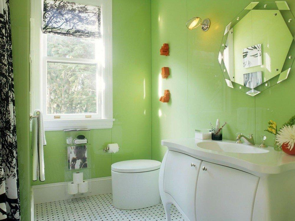 Сочетания зеленого цвета в интерьере ванной фото 3