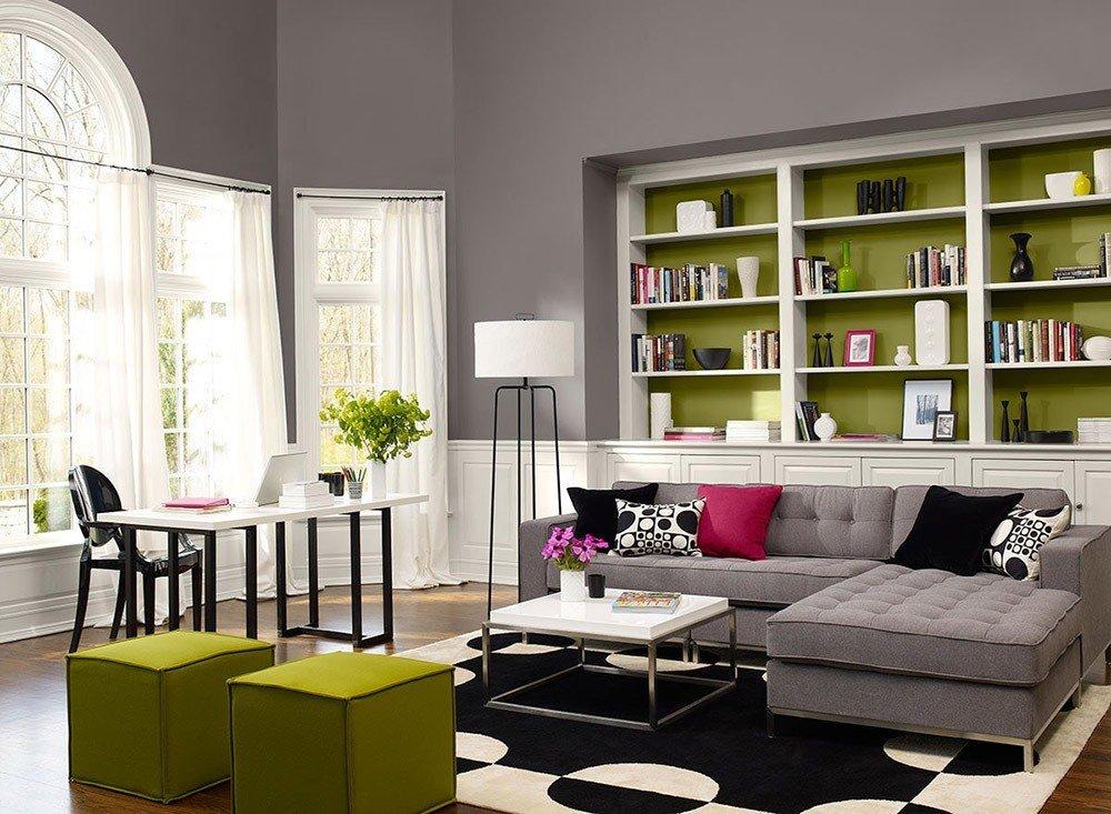 Сочетания зеленого цвета в интерьере гостиной фото 4