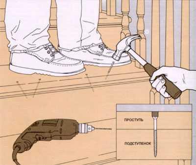 Скрип лестницы, устранить скрип