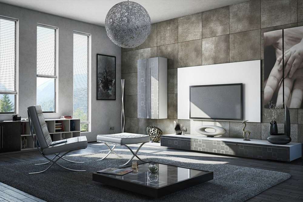Серый цвет в интерьере гостиной в стиле минимализм
