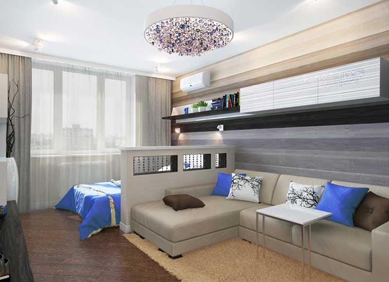Пример зонирования пространства в квадратной комнате