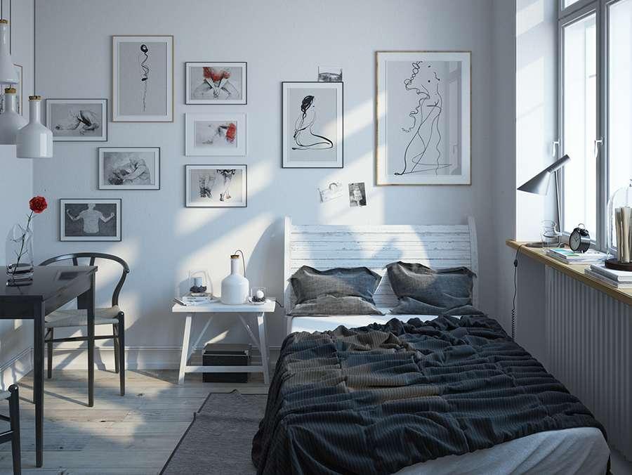 Потрясающая спальня в скандинавском стиле