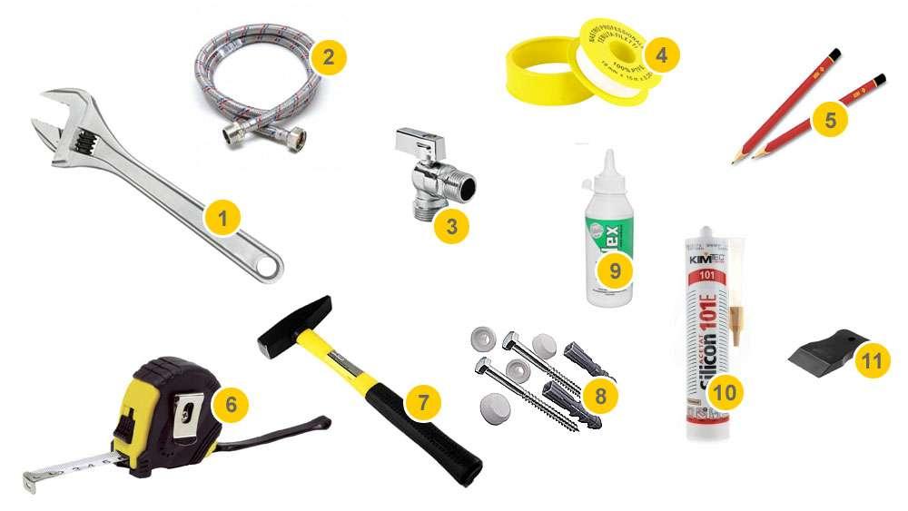 Инструменты и материалы для установки унитаза на пол из кафельной плитки