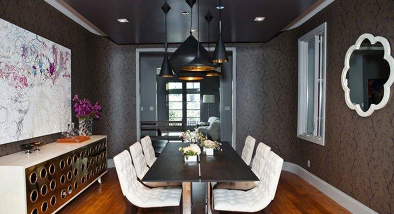Черный потолок в интерьере в стиле модерн