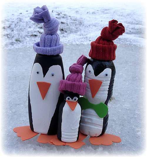 Поделки на новый год пингвины из пластиковых бутылок