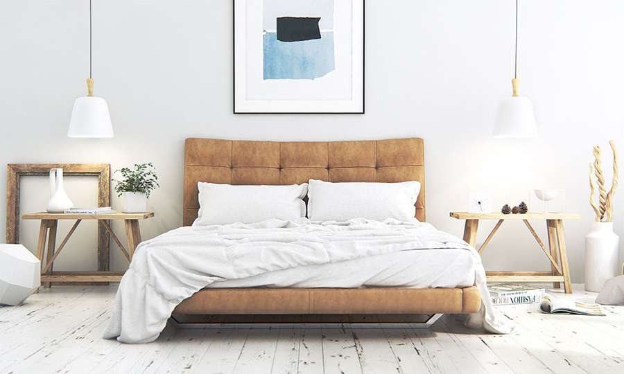 Прекрасный интерьер спальни в скандинавском стиле
