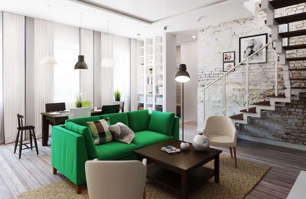 Зеленый диван в интерьере в стиле лофт