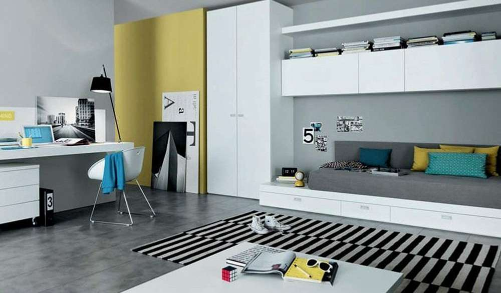 Серый цвет в комнате в стиле модерн