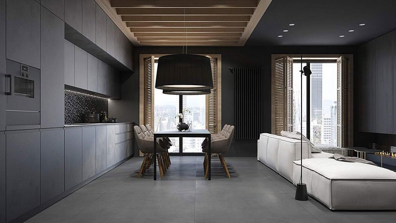 Черный потолок в гостиной со вставками